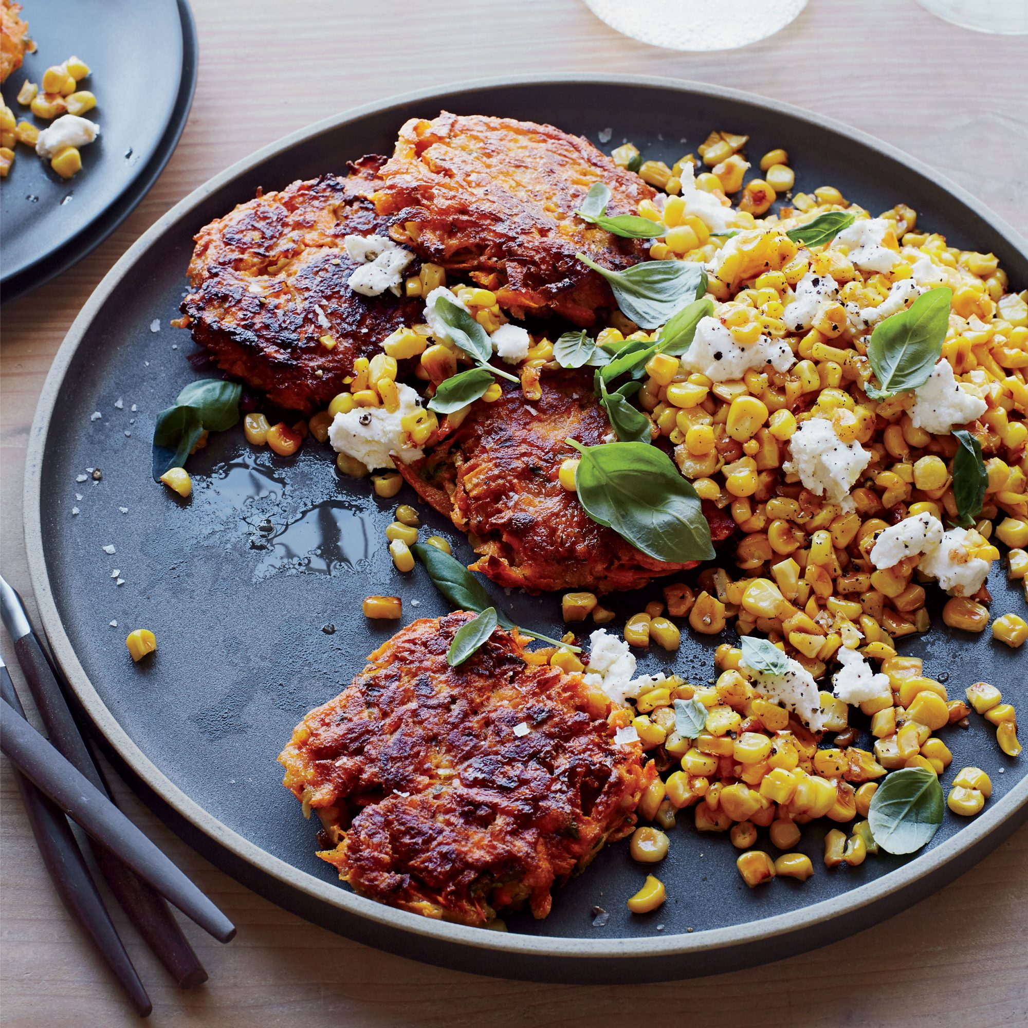 Sweet Potato Cakes with Yellow Corn Basil and Goat Cheese