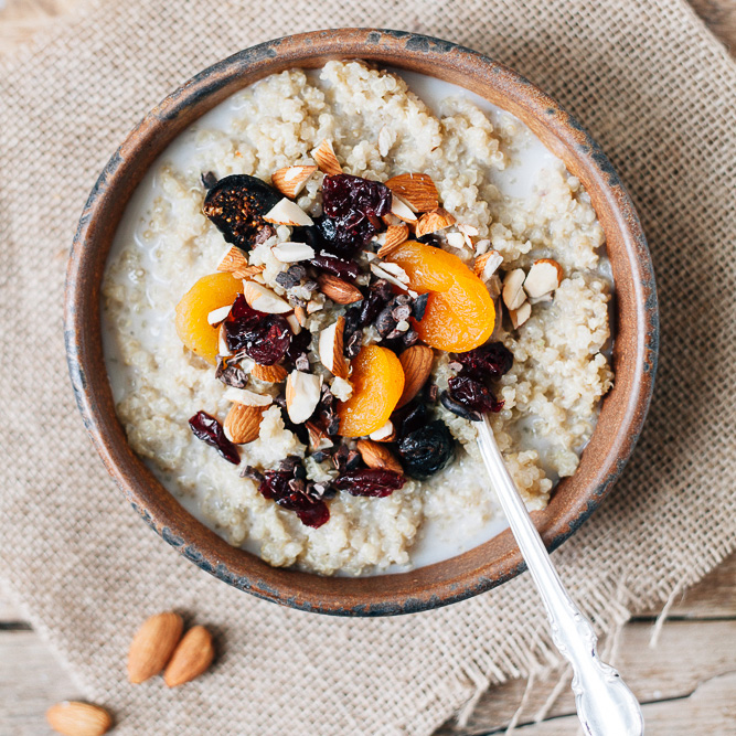 Sweet Almond Breakfast Quinoa with Dried Berries, Crushed Almonds and Cacao Nibs
