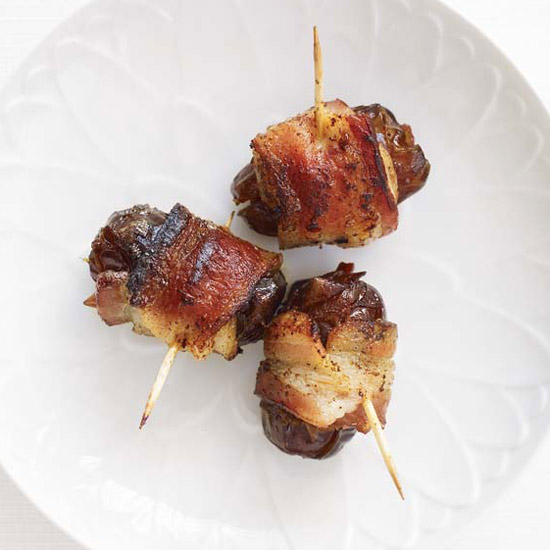 Chorizo-Filled Dates Wrapped in Bacon.