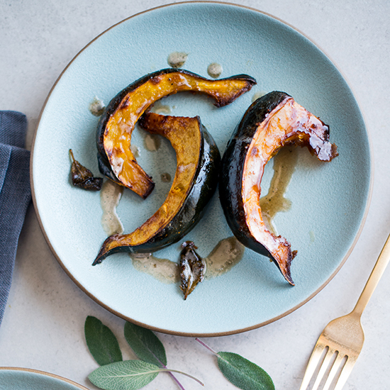 Roasted Acorn Squash with Sage Brown Butter