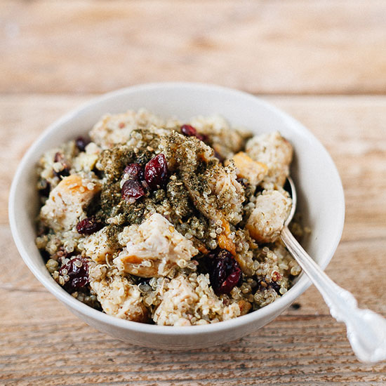 Quinoa with Za'atar, Grilled Chicken and Dried Cranberries