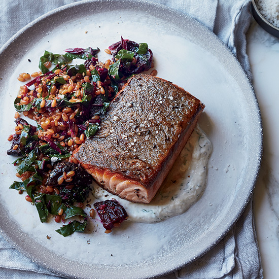 Caraway Salmon with Rye Berry-and-Beet Salad