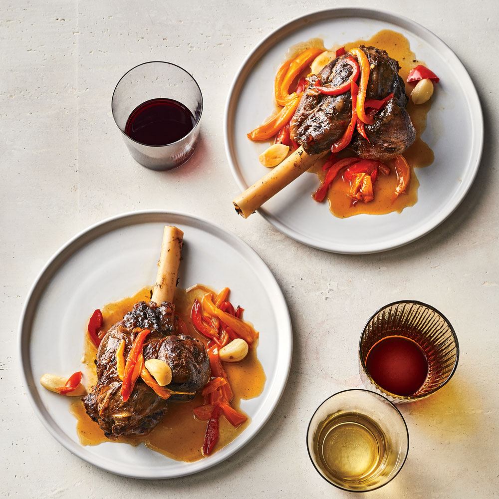 Garlicky Braised Lamb Shanks with Sweet Peppers