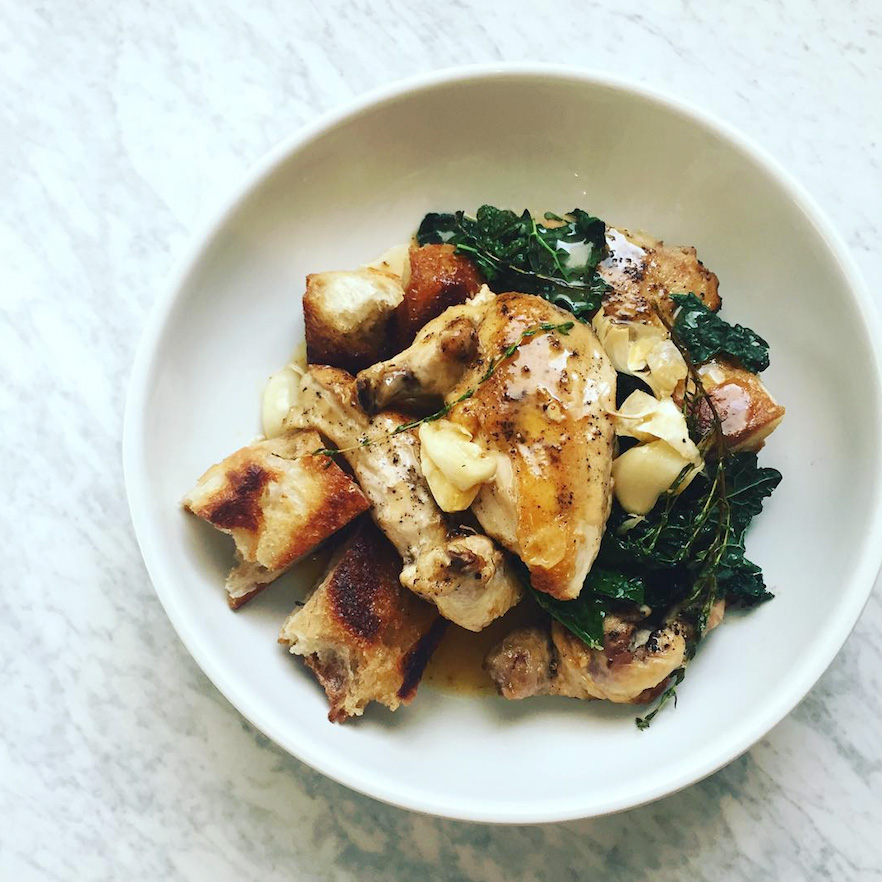 Quick Roast Chicken with Herbed Croutons