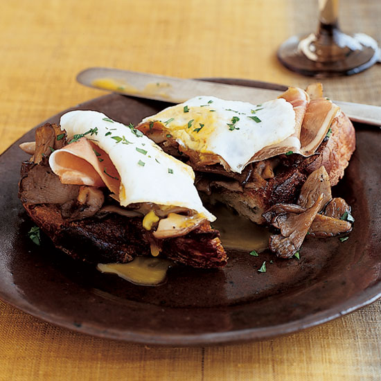 Wild Mushroom Toasts with Ham and Fried Eggs