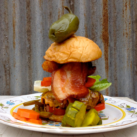 Crazy Over-the-Top Burger Topping: EB&D Loaded Up & Truckin' Burger