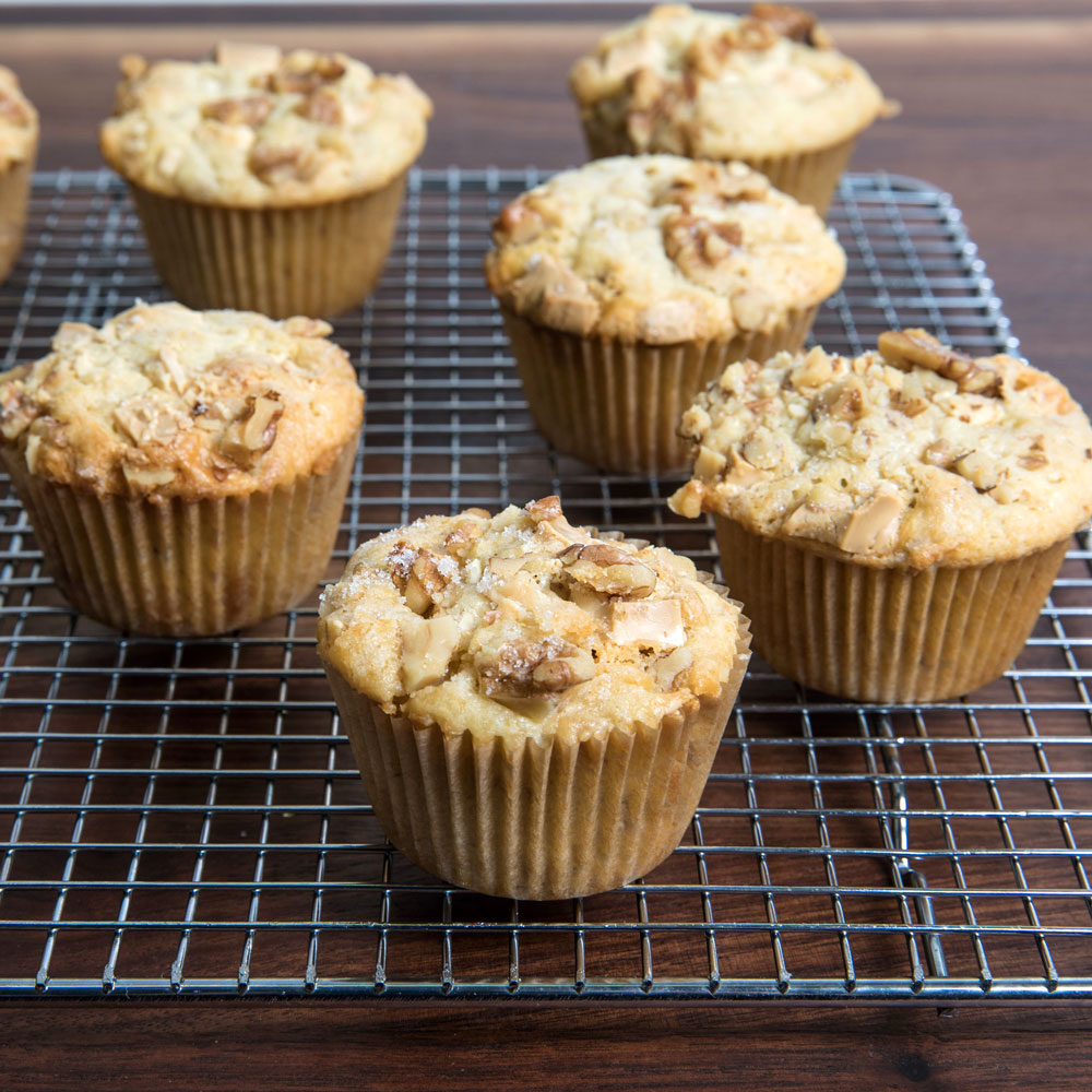White Chocolate–Walnut Muffins