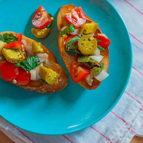 Bruschetta with Pickled Okra