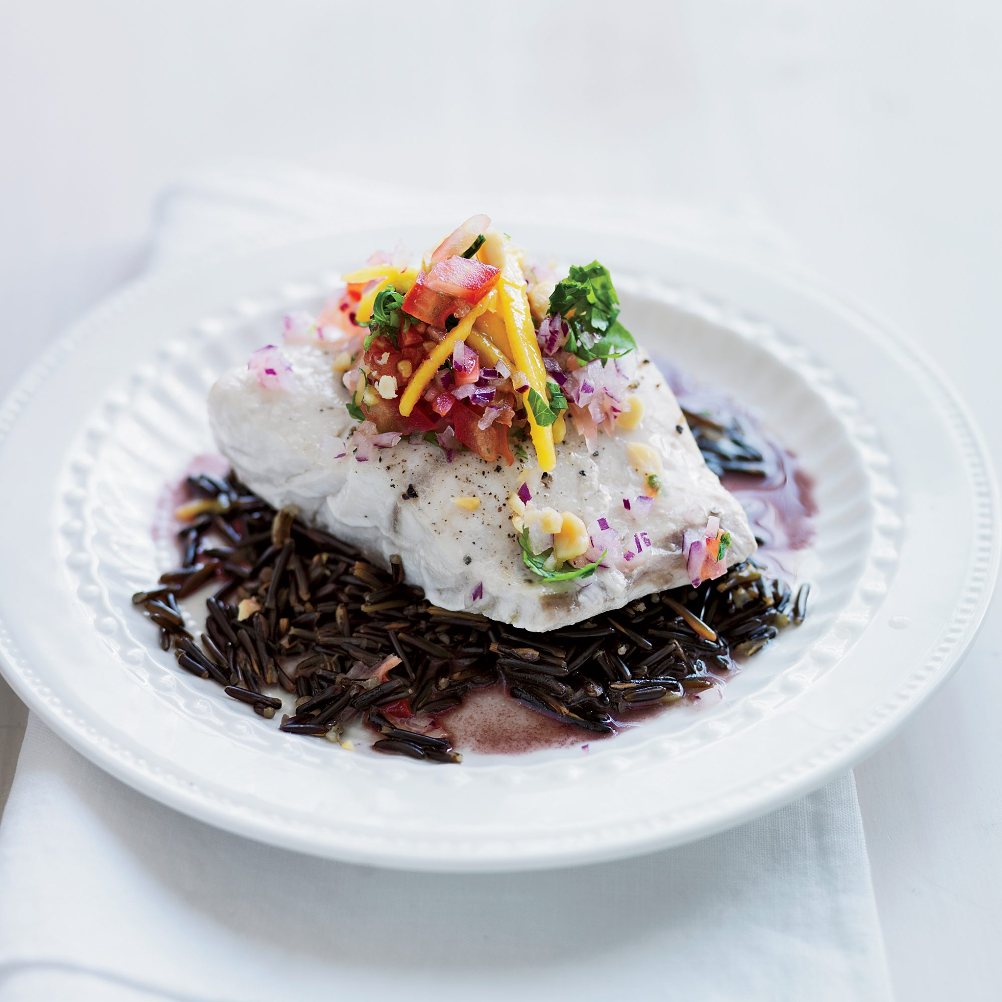 Striped Bass with Mango & Pickled Ginger Salad