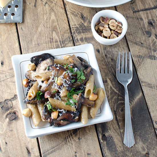 Brown Butter Mushrooms with Hazelnuts and Whole-Wheat Pasta