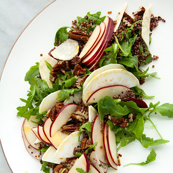 Quinoa with Apples, Celery Root, Arugula, and Pecans