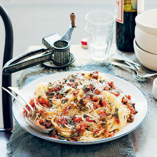 Spaghetti with Bacon, Capers and Mint