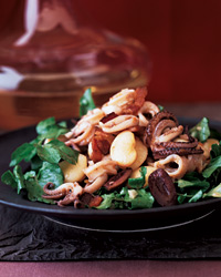 Spicy Squid Salad with Watercress and Lima Beans