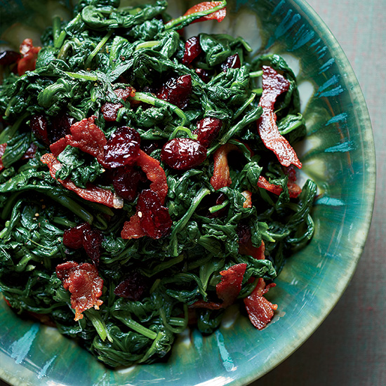Sautéed Spinach with Pancetta and Dried Cranberries