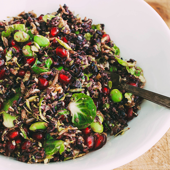 Black Rice Salad with Shaved Brussels Sprouts, Edamame and Pomegranate