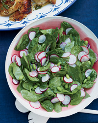 Spinach and Edamame Salad with Basil and Asian Dressing
