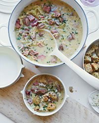 Creamy Reuben Chowder with Rye Croutons