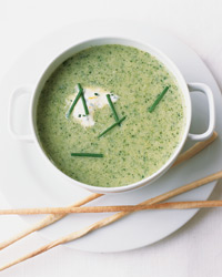 Broccoli-Leek Soup with Lemon-Chive Cream