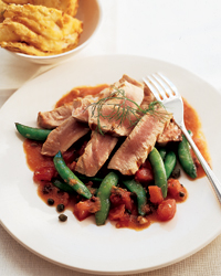 Seared Tuna Puttanesca with Fennel Fritters