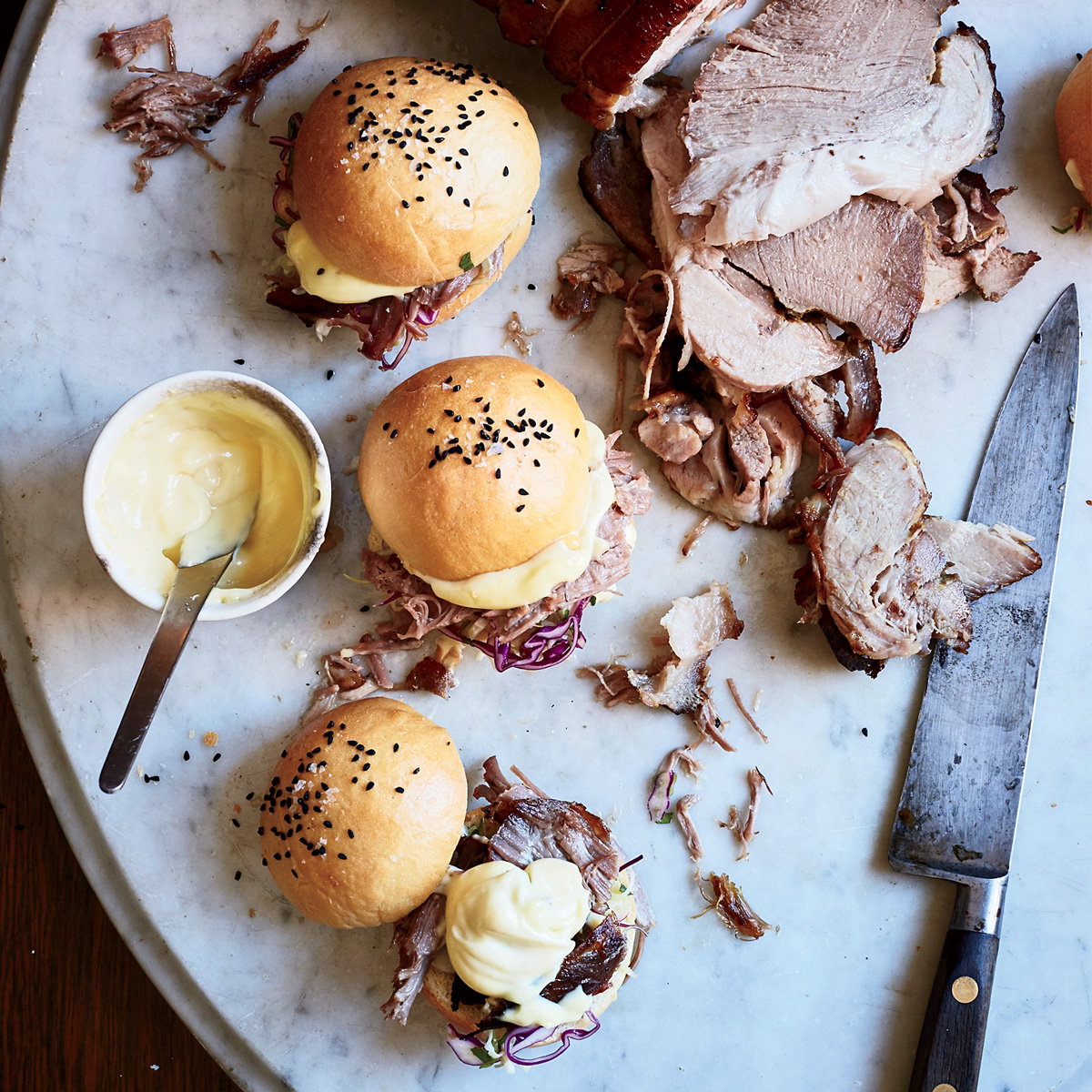 Roast Pork Sandwiches with Three-Cabbage Slaw and Aioli