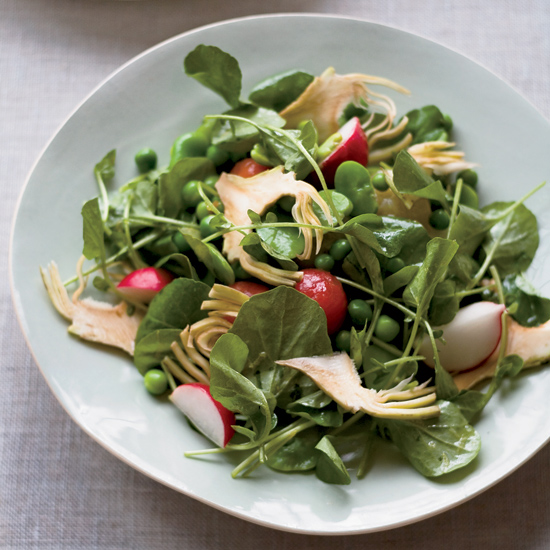 Crunchy Vegetable Salad with Sautéed Peas and Radishes