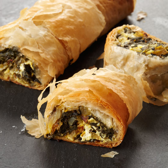 Chard-and-Goat-Cheese Strudel with Indian Flavors