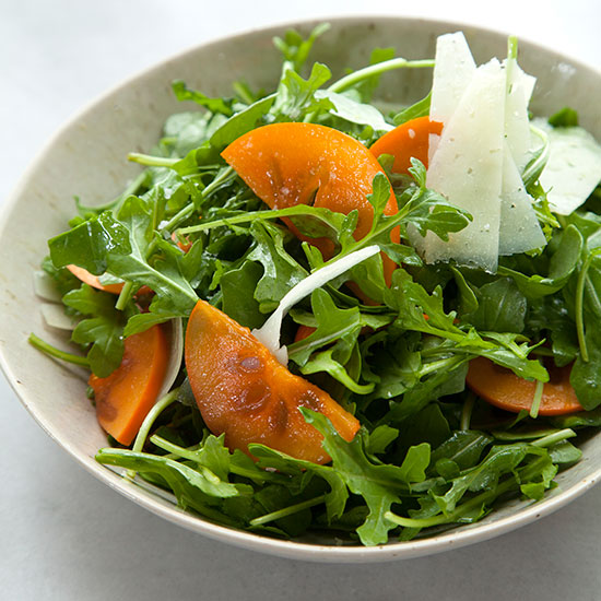 Arugula and Persimmon Salad with Shaved Manchego Cheese