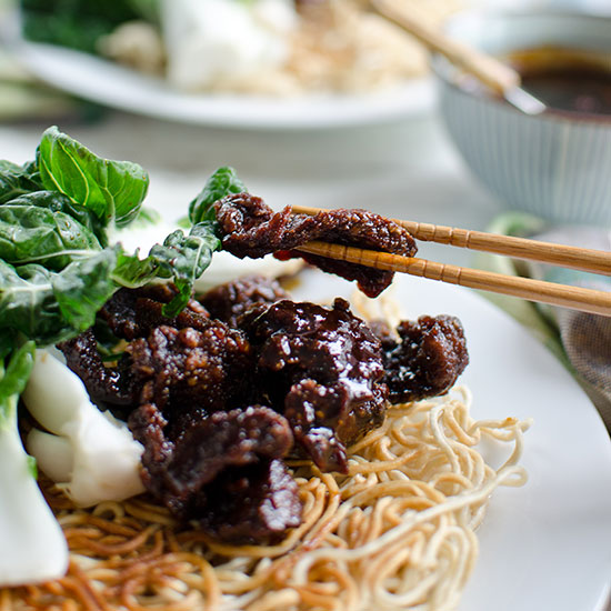 Mongolian Beef and Baby Bok Choy Stir-Fry with Crispy Chow Mein Noodles
