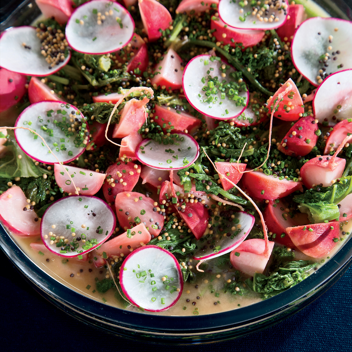 Honey-Mustard-Braised Radishes and Mustard Greens