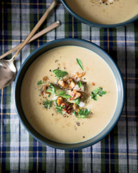 Creamy Parsnip Soup with Pear and Walnuts