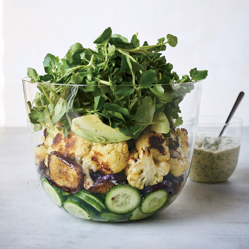 Roasted Eggplant and Cauliflower Salad with Tahini Green Goddess Dressing