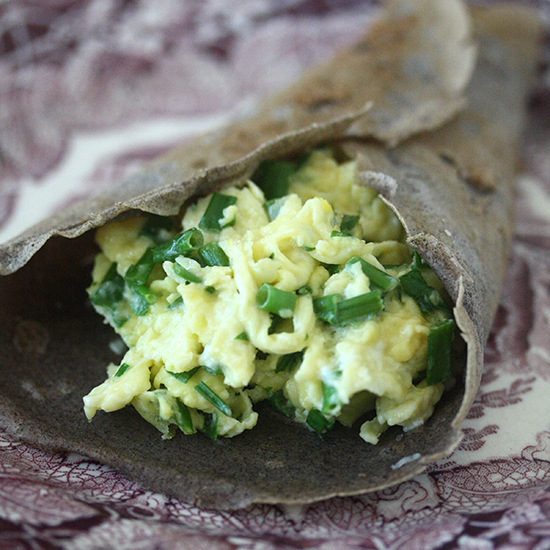 Buckwheat Crêpes with Herbed Soft-Scrambled Eggs