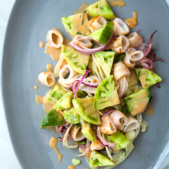 Grilled Squid and Green Tomato Salad with a Sesame-Lime Dressing