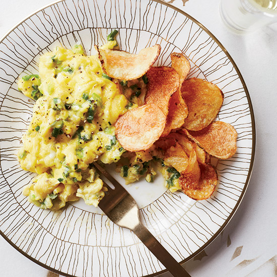 Scallion Scrambled Eggs with Potato Chips