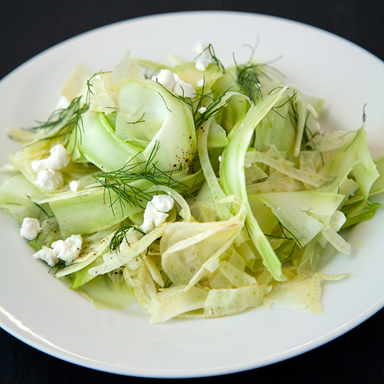 Shaved Broccoli and Fennel Salad with Goat Cheese