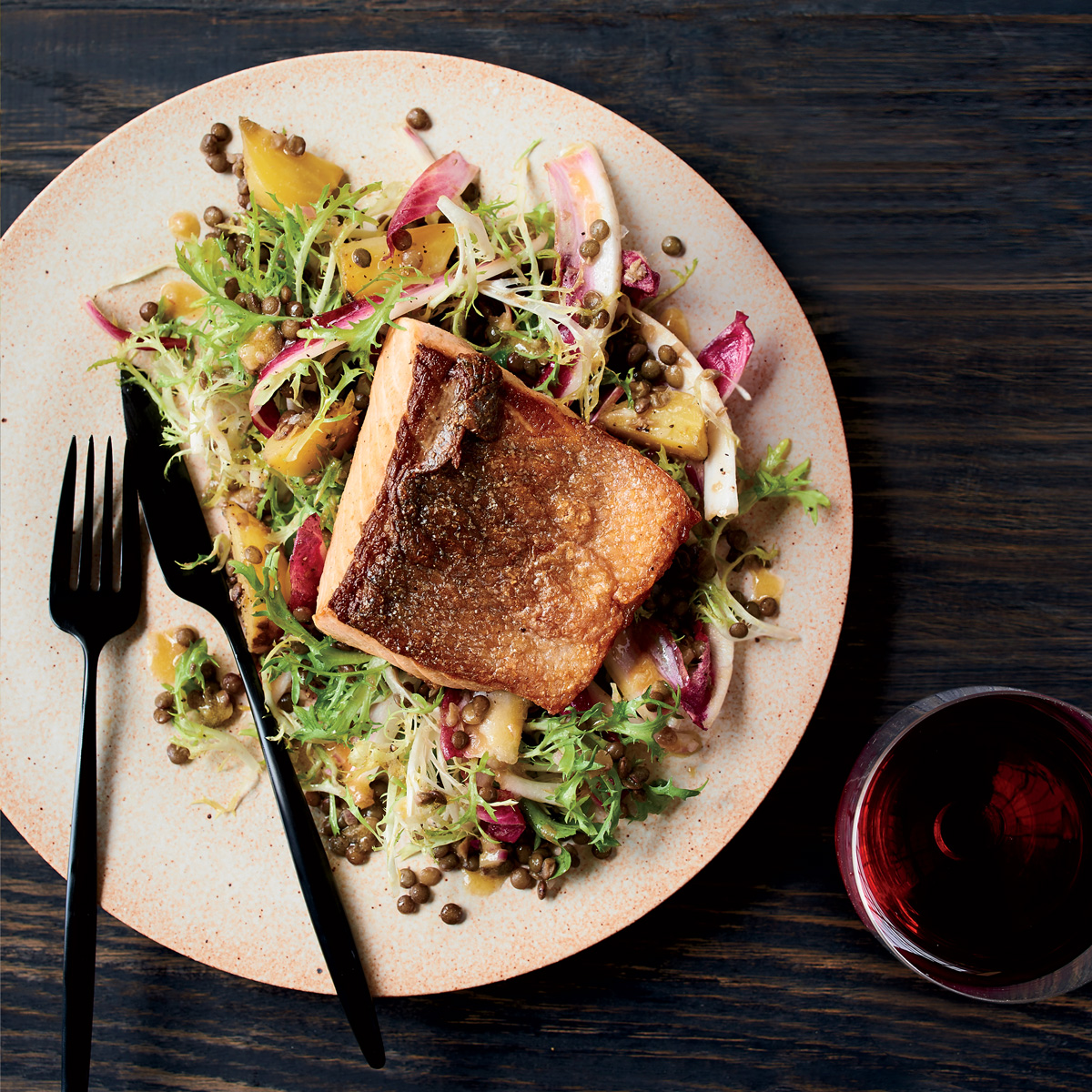 Salmon with Lentil-Beet Salad