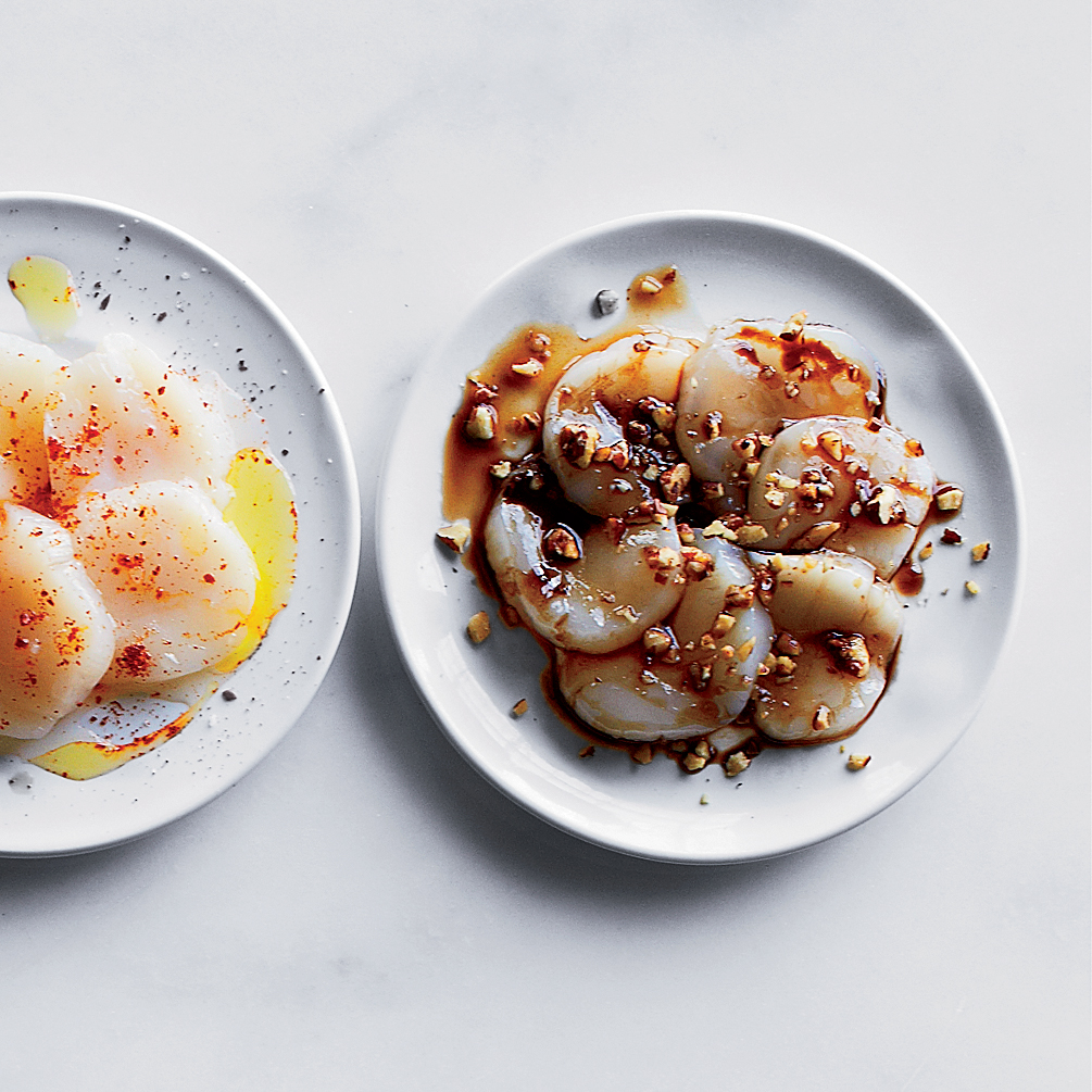 Scallop Crudo with Pecans and Ponzu Sauce