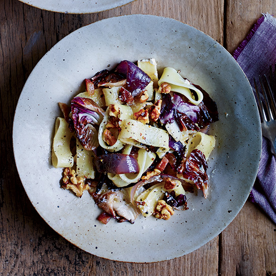 Pasta with Guanciale, Radicchio and Ricotta