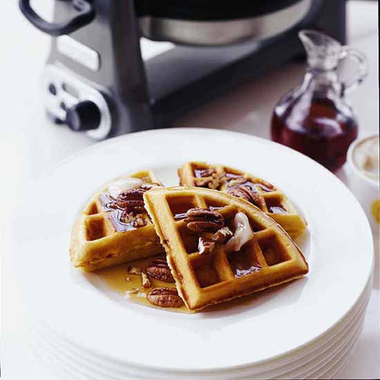 Banana Waffles with Pecans