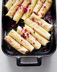 Ricotta Crêpes with Honey, Walnuts and Rose