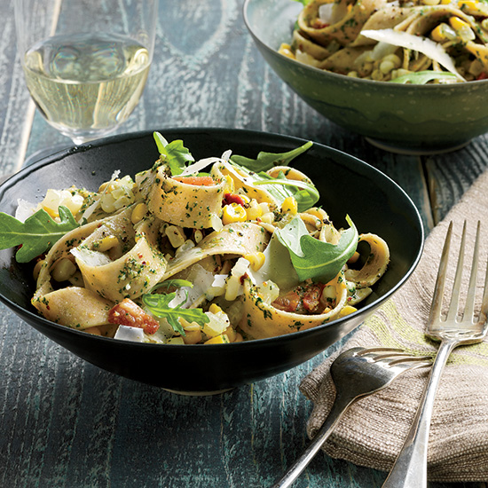 Whole-Wheat Pappardelle with Arugula Pesto and Corn
