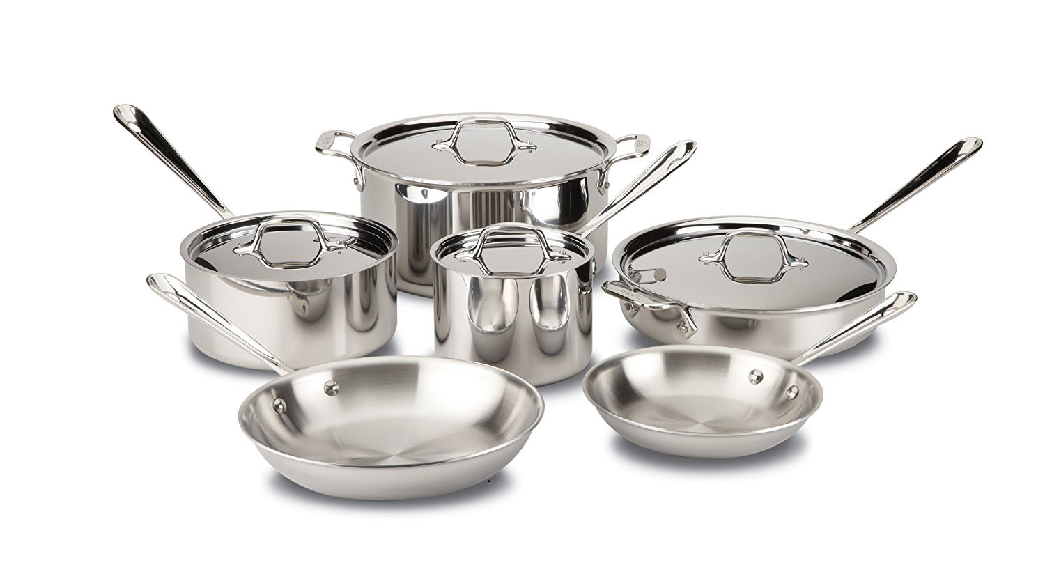 All-Clad Stainless Steel Tri-Ply Bonded Dishwasher Safe Cookware Set