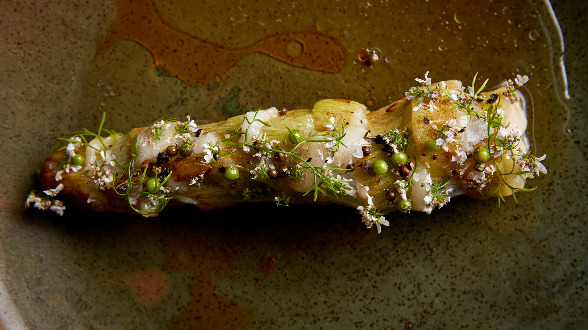 Broccoli Stems with Lardo & Fresh Coriander Seeds