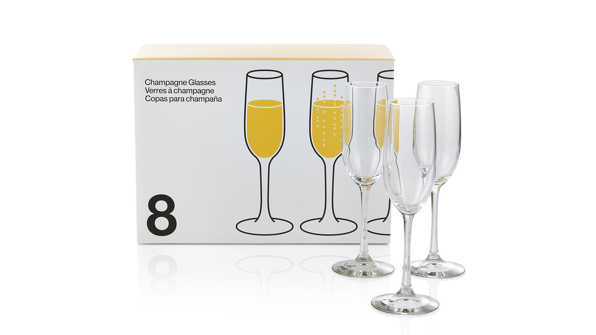 Crate & Barrel Boxed Champagne Flutes