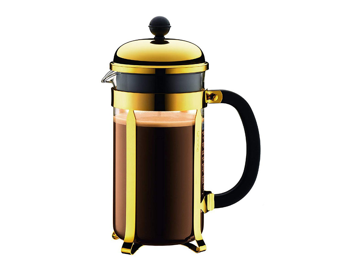 Gold French Press Coffee Maker