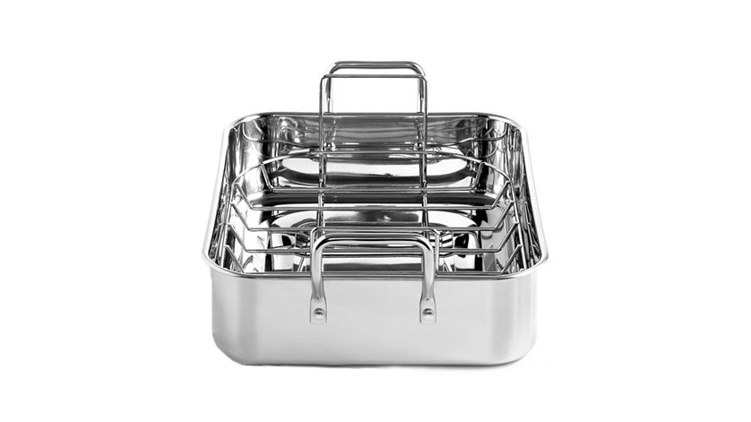 Martha Stewart Collection Stainless Steel 15  Roaster with Roasting Rack