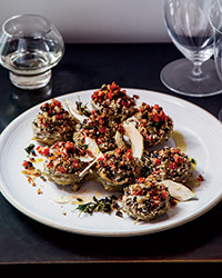 Braised Artichoke Hearts Stuffed with Olives and Herbs