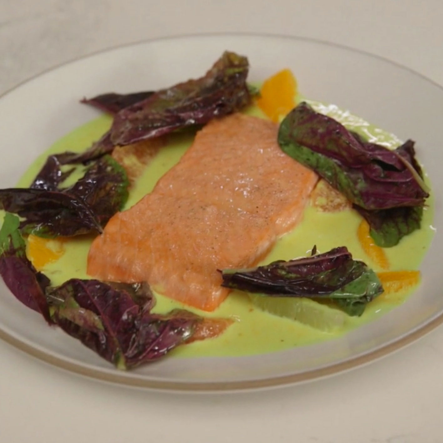 Pan-Seared Salmon with Citrus-Curry Sauce