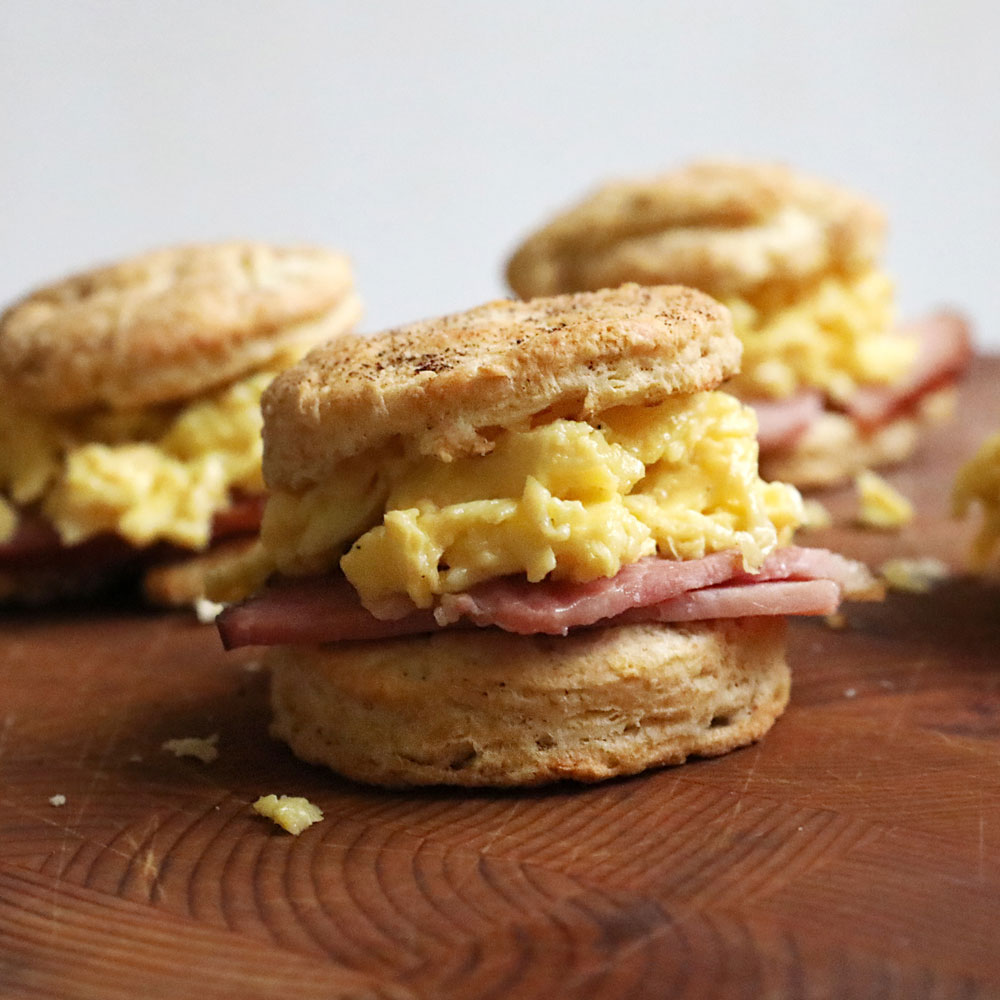 Beaten Biscuit Breakfast Sandwich with Tomato Jam