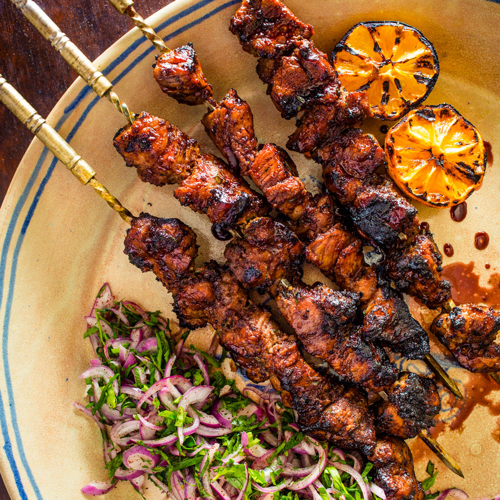 Pomegranate-Glazed Pork Skewers